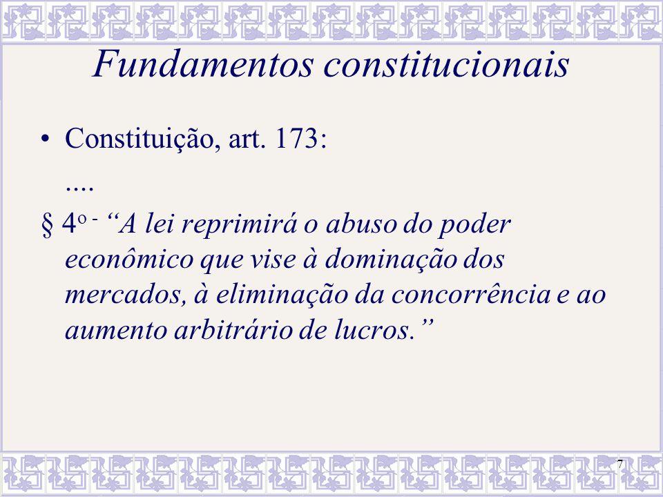 7 Fundamentos constitucionais Constituição, art. 173:.... § 4 o - A lei reprimirá o abuso do poder econômico que vise à dominação dos mercados, à elim