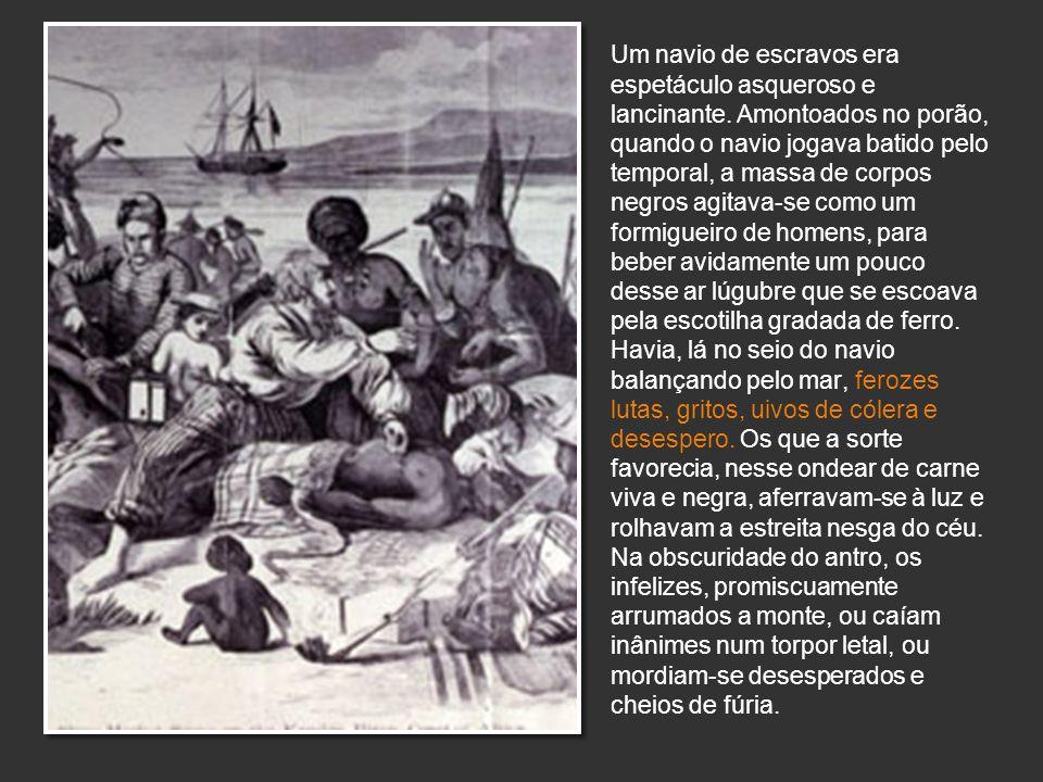Um navio de escravos era espetáculo asqueroso e lancinante. Amontoados no porão, quando o navio jogava batido pelo temporal, a massa de corpos negros