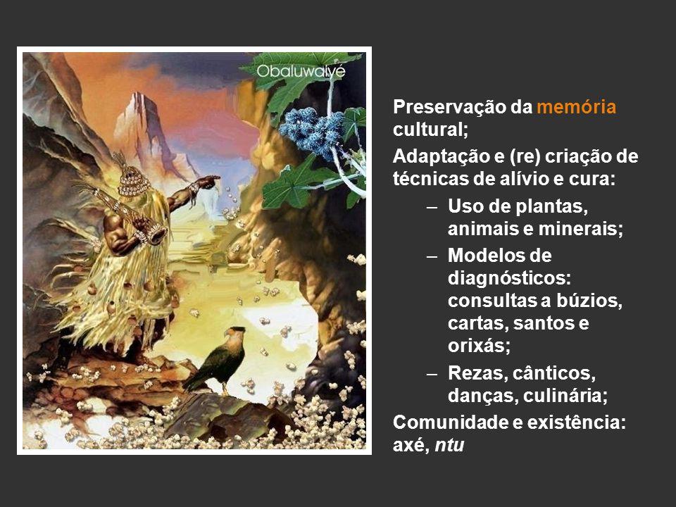 Preservação da memória cultural; Adaptação e (re) criação de técnicas de alívio e cura: –Uso de plantas, animais e minerais; –Modelos de diagnósticos: