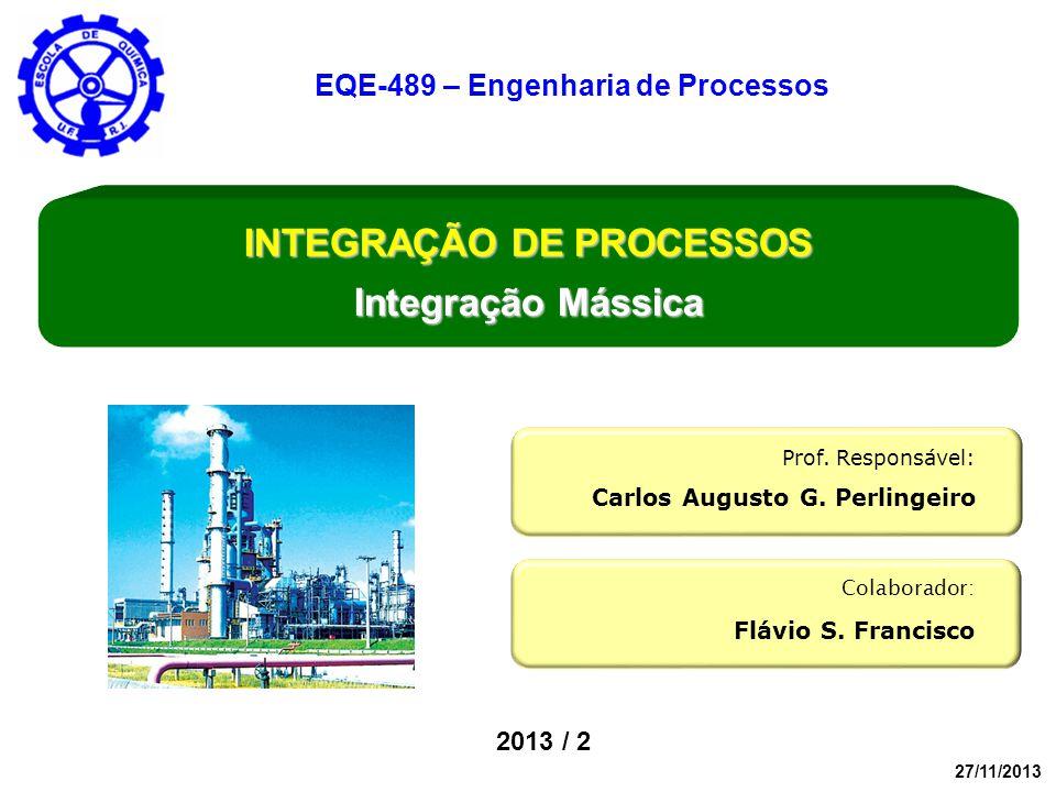 2013 / 2 Colaborador: Flávio S. Francisco Prof. Responsável: Carlos Augusto G. Perlingeiro INTEGRAÇÃO DE PROCESSOS Integração Mássica EQE-489 – Engenh