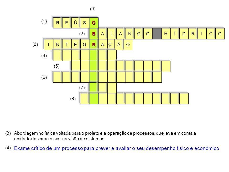 RÃOÇANETG (3) I BÍHRALCIODANÇO (1) (2) (9) OREÚS (6) (7) (8) (3)Abordagem holística voltada para o projeto e a operação de processos, que leva em conta a unidade dos processos, na visão de sistemas (4) Exame crítico de um processo para prever e avaliar o seu desempenho físico e econômico (5) (4)