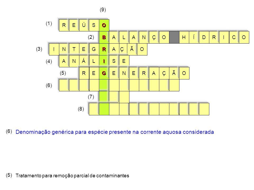 (6) Denominação genérica para espécie presente na corrente aquosa considerada I RÃOÇA S NET AÁ G ENL (3) I BÍHRALCIODANÇO (1) (2) (9) OREÚS (6) (7) (8) GEERNÃEOÇRA (5) Tratamento para remoção parcial de contaminantes (5) (4)