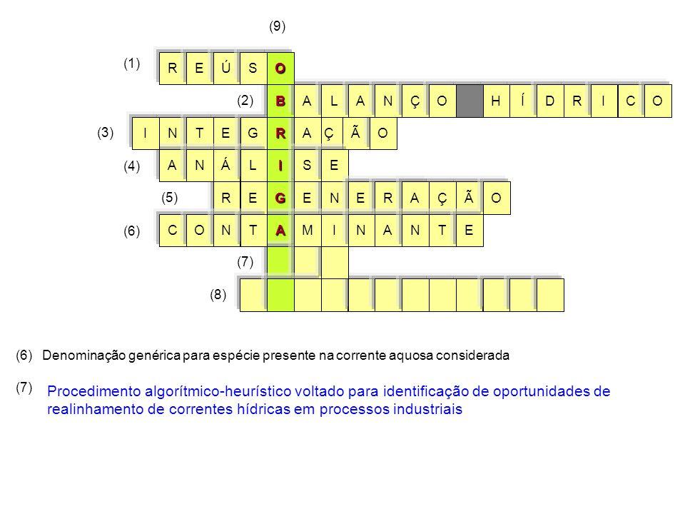 G I R A ÃO E Ç ERNÃ A S NET AÁ C G ENL E I O ONMT (3) (6) (7) (8) ÇRA AN I TNE BÍHRALCIODANÇO (1) (2) (9) OREÚS (7) Procedimento algorítmico-heurístico voltado para identificação de oportunidades de realinhamento de correntes hídricas em processos industriais (6)Denominação genérica para espécie presente na corrente aquosa considerada (5) (4)
