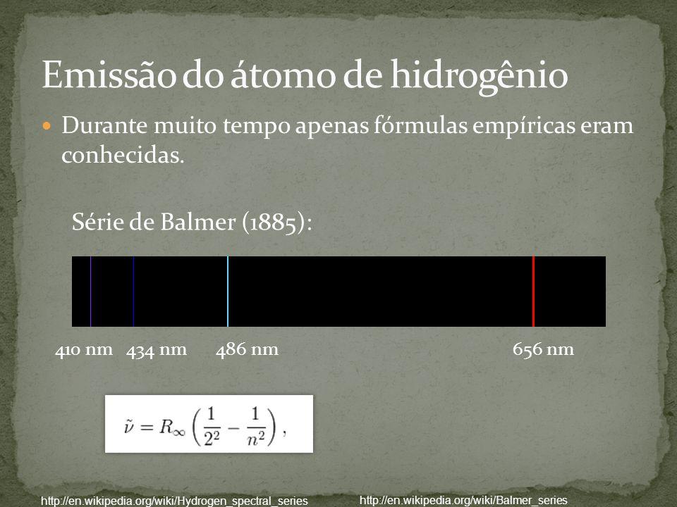 Série de Balmer (1885): 410 nm434 nm486 nm656 nm http://en.wikipedia.org/wiki/Hydrogen_spectral_series http://en.wikipedia.org/wiki/Balmer_series