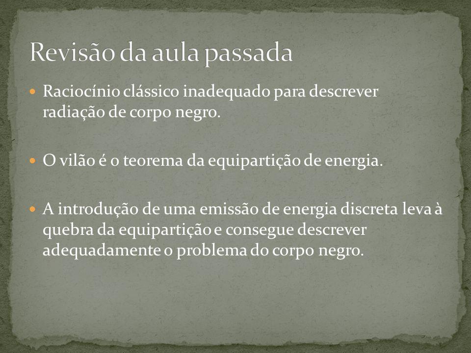 Raciocínio clássico inadequado para descrever radiação de corpo negro. O vilão é o teorema da equipartição de energia. A introdução de uma emissão de