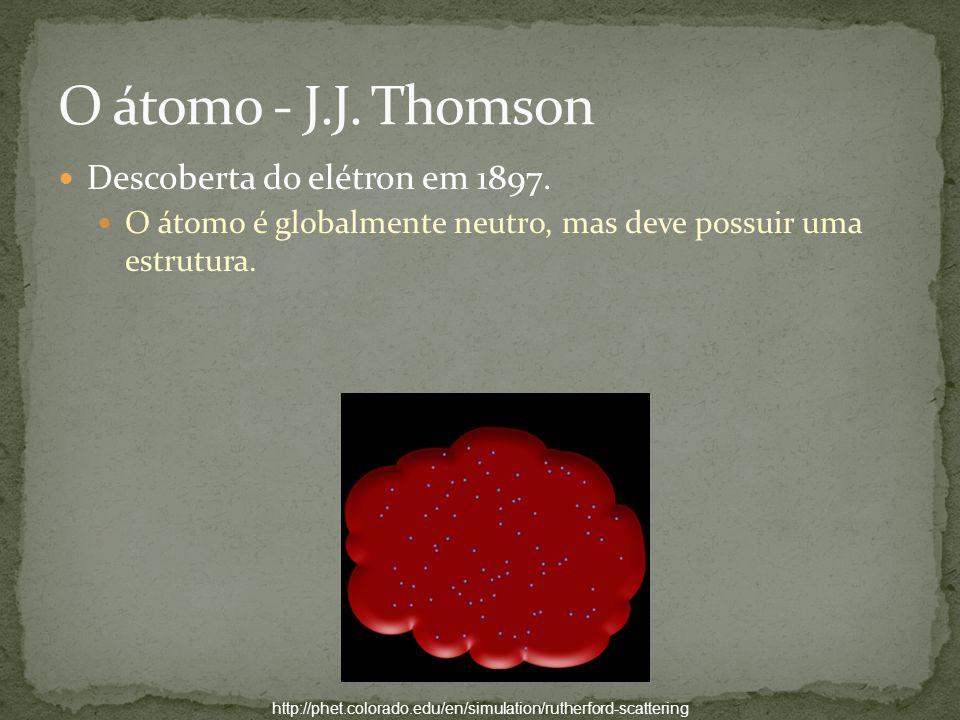 http://phet.colorado.edu/en/simulation/rutherford-scattering Descoberta do elétron em 1897. O átomo é globalmente neutro, mas deve possuir uma estrutu