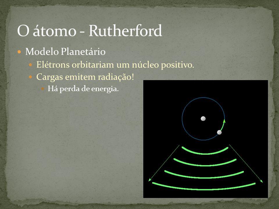 Modelo Planetário Elétrons orbitariam um núcleo positivo. Cargas emitem radiação! Há perda de energia.