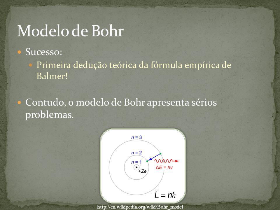 Sucesso: Primeira dedução teórica da fórmula empírica de Balmer! Contudo, o modelo de Bohr apresenta sérios problemas. http://en.wikipedia.org/wiki/Bo