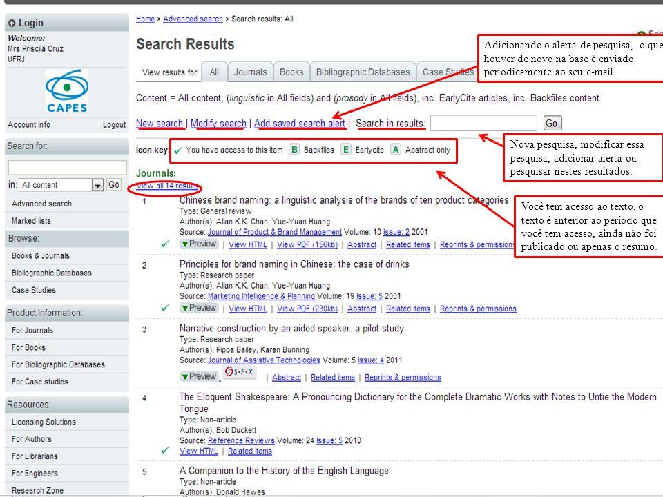 Nova pesquisa, modificar essa pesquisa, adicionar alerta ou pesquisar nestes resultados.