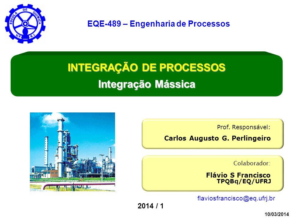 2014 / 1 Colaborador: Flávio S Francisco Prof. Responsável: Carlos Augusto G. Perlingeiro INTEGRAÇÃO DE PROCESSOS Integração Mássica EQE-489 – Engenha