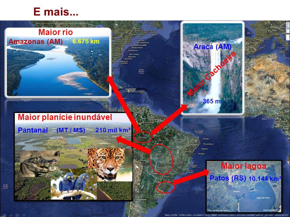 E mais... Maior rio Amazonas (AM) 6.675 km Maior Cachoeira Aracá (AM) 365 m Maior lagoa Patos (RS) 10.144 km² Maior planície inundável Pantanal 210 mi