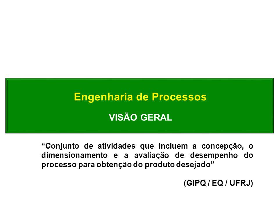 VISÃO GERAL Conjunto de atividades que incluem a concepção, o dimensionamento e a avaliação de desempenho do processo para obtenção do produto desejad