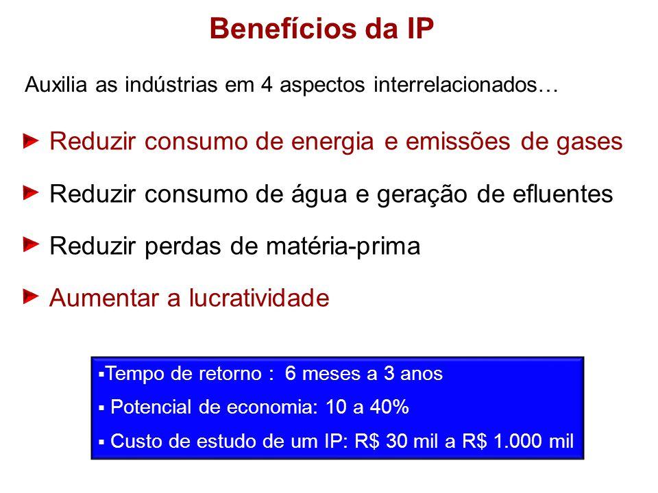 Auxilia as indústrias em 4 aspectos interrelacionados… Tempo de retorno : 6 meses a 3 anos Potencial de economia: 10 a 40% Custo de estudo de um IP: R