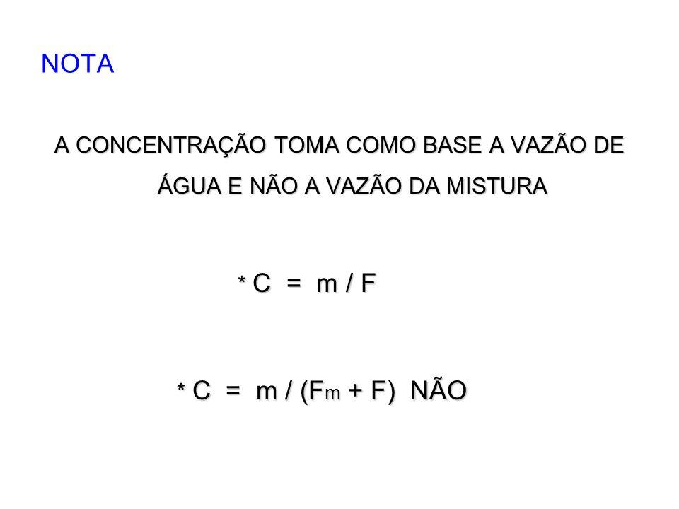 NOTA A CONCENTRAÇÃO TOMA COMO BASE A VAZÃO DE ÁGUA E NÃO A VAZÃO DA MISTURA * C = m / F * C = m / (F m + F) NÃO * C = m / (F m + F) NÃO