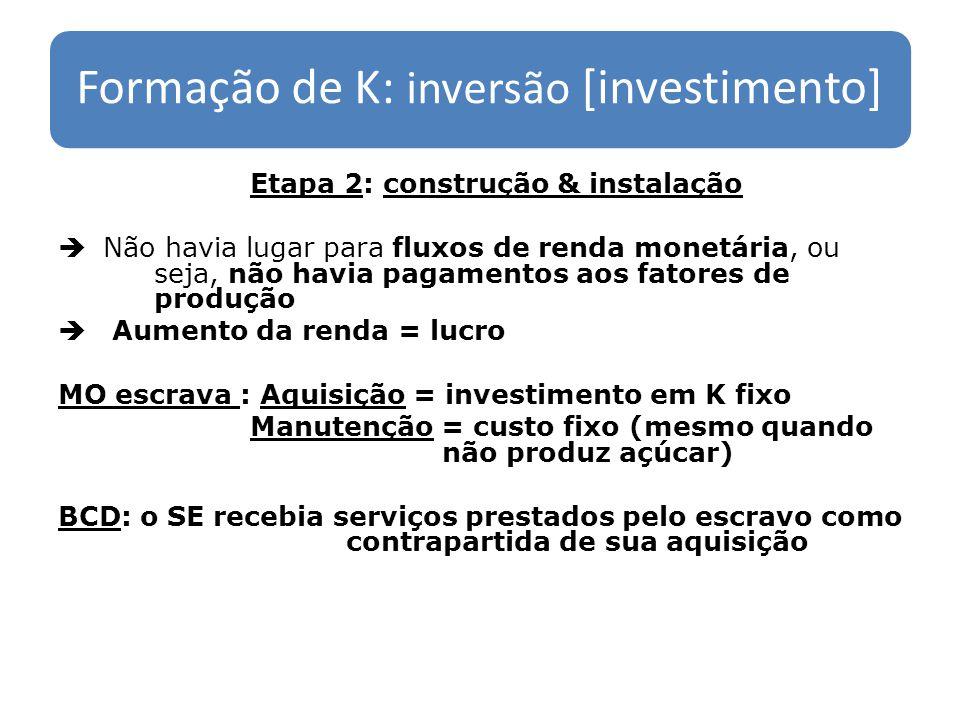 Formação de K: inversão [investimento] Etapa 2: construção & instalação Não havia lugar para fluxos de renda monetária, ou seja, não havia pagamentos