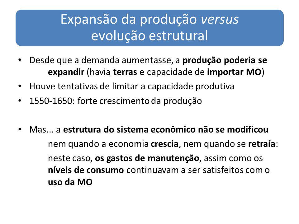Expansão da produção versus evolução estrutural Desde que a demanda aumentasse, a produção poderia se expandir (havia terras e capacidade de importar