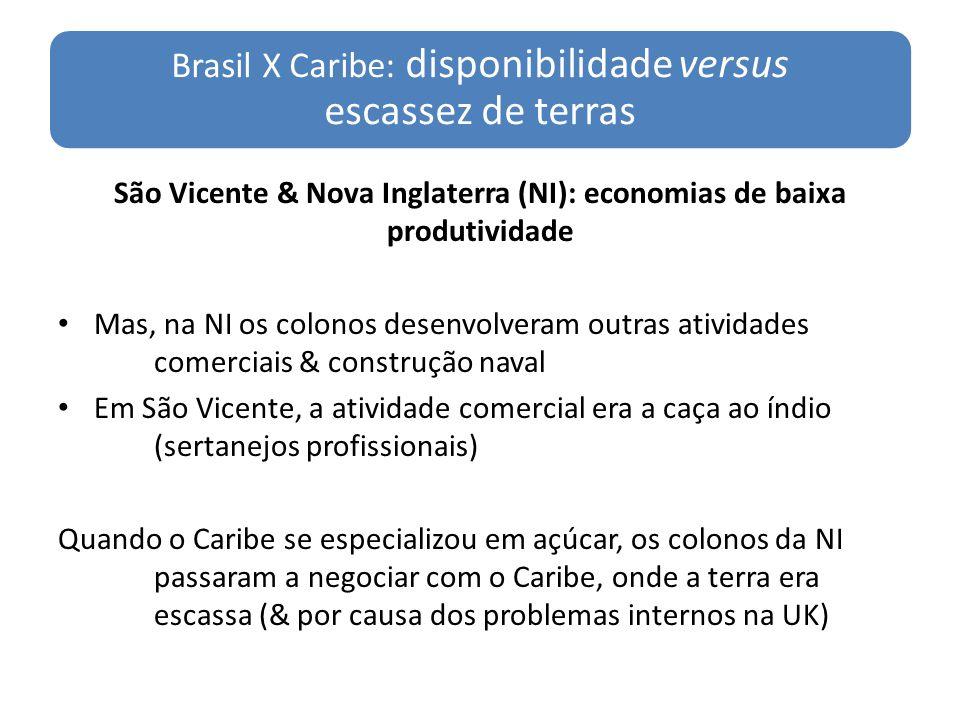 Brasil X Caribe: disponibilidade versus escassez de terras São Vicente & Nova Inglaterra (NI): economias de baixa produtividade Mas, na NI os colonos
