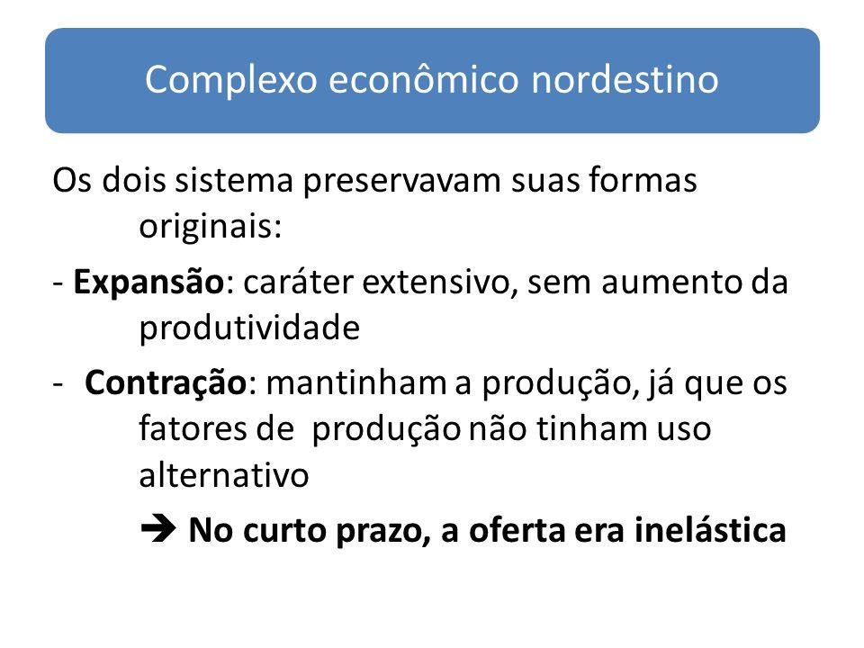 Complexo econômico nordestino Os dois sistema preservavam suas formas originais: - Expansão: caráter extensivo, sem aumento da produtividade -Contraçã