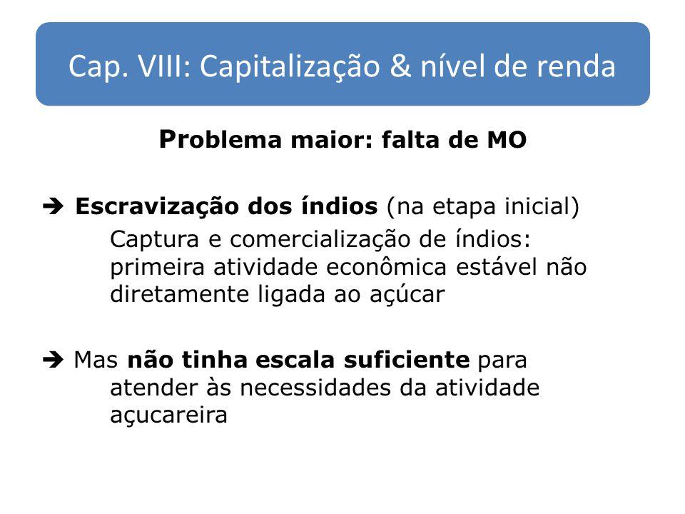 Cap. VIII: Capitalização & nível de renda Pr oblema maior: falta de MO Escravização dos índios (na etapa inicial) Captura e comercialização de índios:
