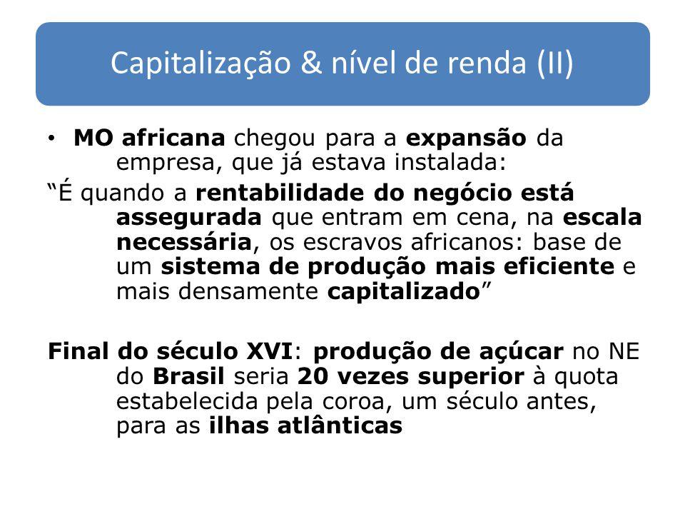 Renda no final do século XVI (I) Capital investido: 15 mil libras por engenho; 120 engenhos total: 1.800 mil libras Escravos africanos: 20 mil, dos quais 15 mil nos engenhos; custo de aquisição do escravo = 25 libras total 375 mil libras MO escrava africana = 20% do capital fixo