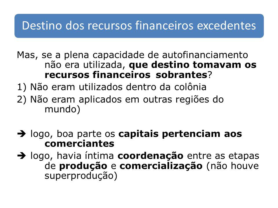 Destino dos recursos financeiros excedentes Mas, se a plena capacidade de autofinanciamento não era utilizada, que destino tomavam os recursos finance