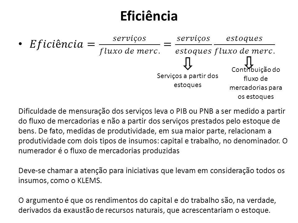 Eficiência Serviços a partir dos estoques Contribuição do fluxo de mercadorias para os estoques Dificuldade de mensuração dos serviços leva o PIB ou P