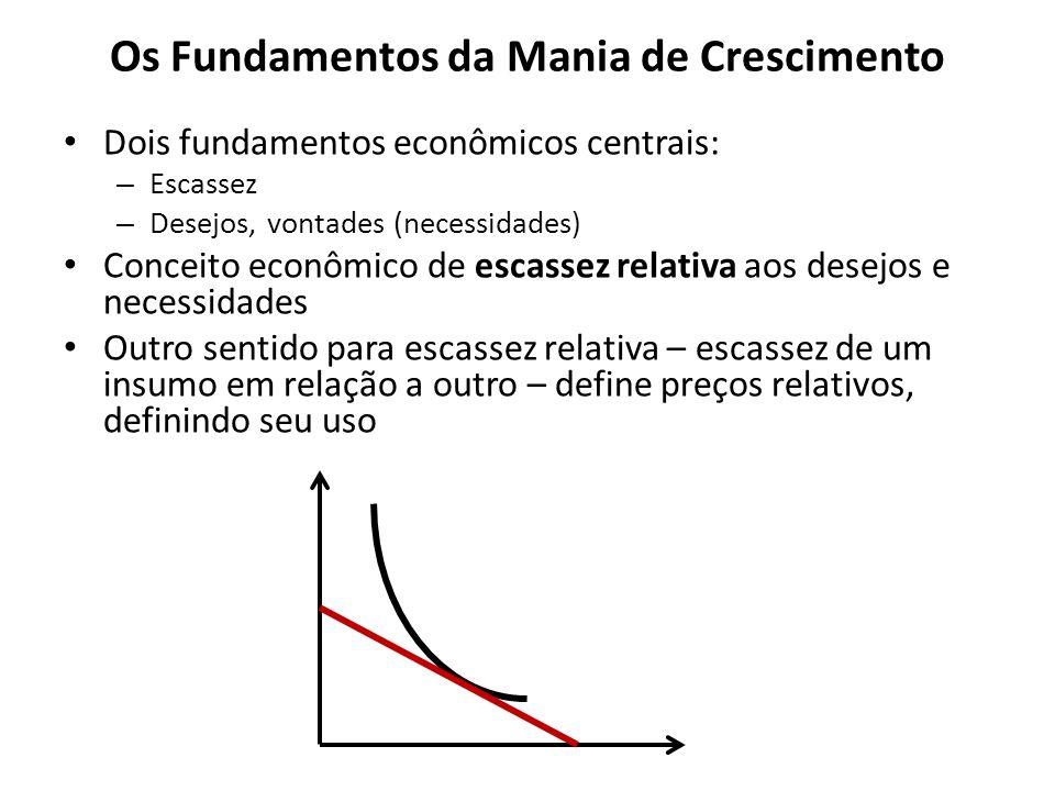 Os Fundamentos da Mania de Crescimento Dois fundamentos econômicos centrais: – Escassez – Desejos, vontades (necessidades) Conceito econômico de escas