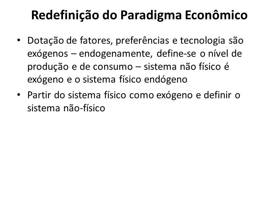 Redefinição do Paradigma Econômico Dotação de fatores, preferências e tecnologia são exógenos – endogenamente, define-se o nível de produção e de cons