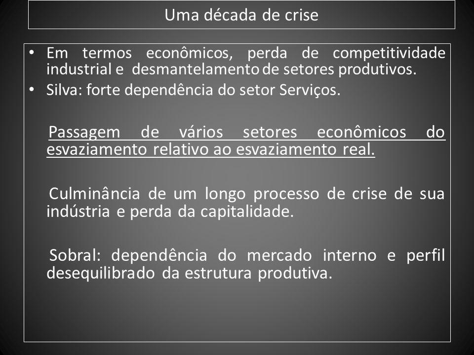 Uma década de crise Em termos econômicos, perda de competitividade industrial e desmantelamento de setores produtivos. Silva: forte dependência do set