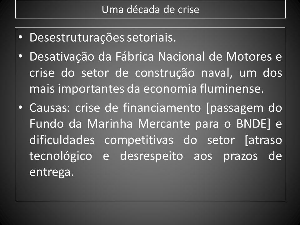 Uma década de crise Desestruturações setoriais. Desativação da Fábrica Nacional de Motores e crise do setor de construção naval, um dos mais important