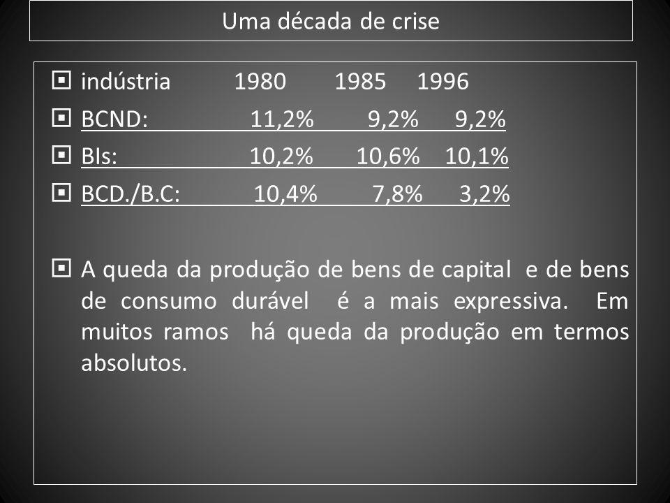 Uma década de crise indústria 1980 1985 1996 BCND: 11,2% 9,2% 9,2% BIs: 10,2% 10,6% 10,1% BCD./B.C: 10,4% 7,8% 3,2% A queda da produção de bens de cap
