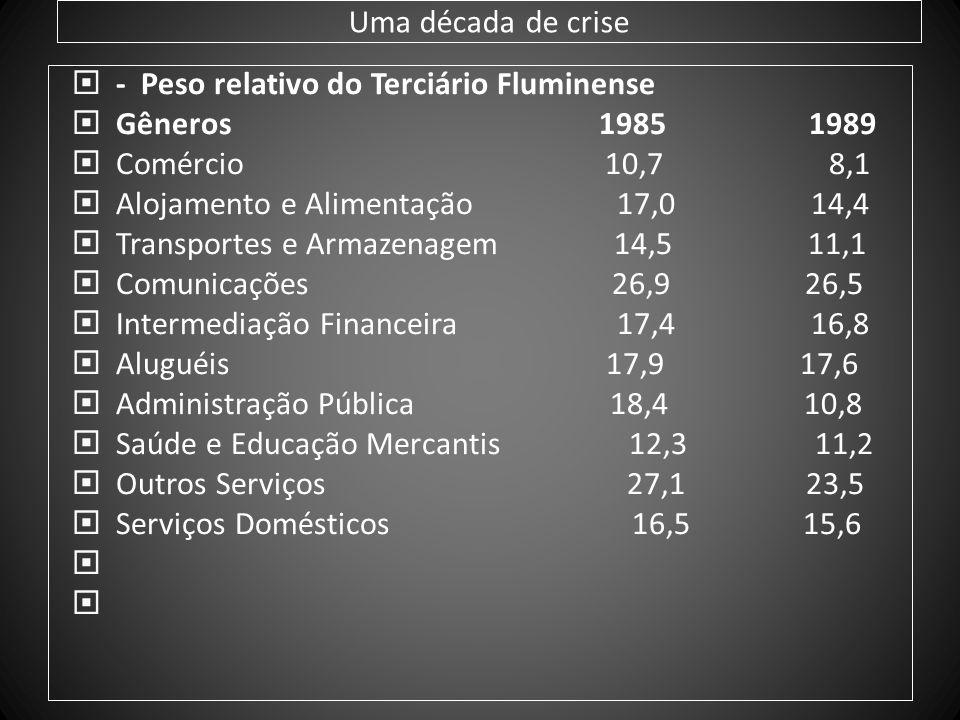 Uma década de crise - Peso relativo do Terciário Fluminense Gêneros 1985 1989 Comércio 10,7 8,1 Alojamento e Alimentação 17,0 14,4 Transportes e Armaz