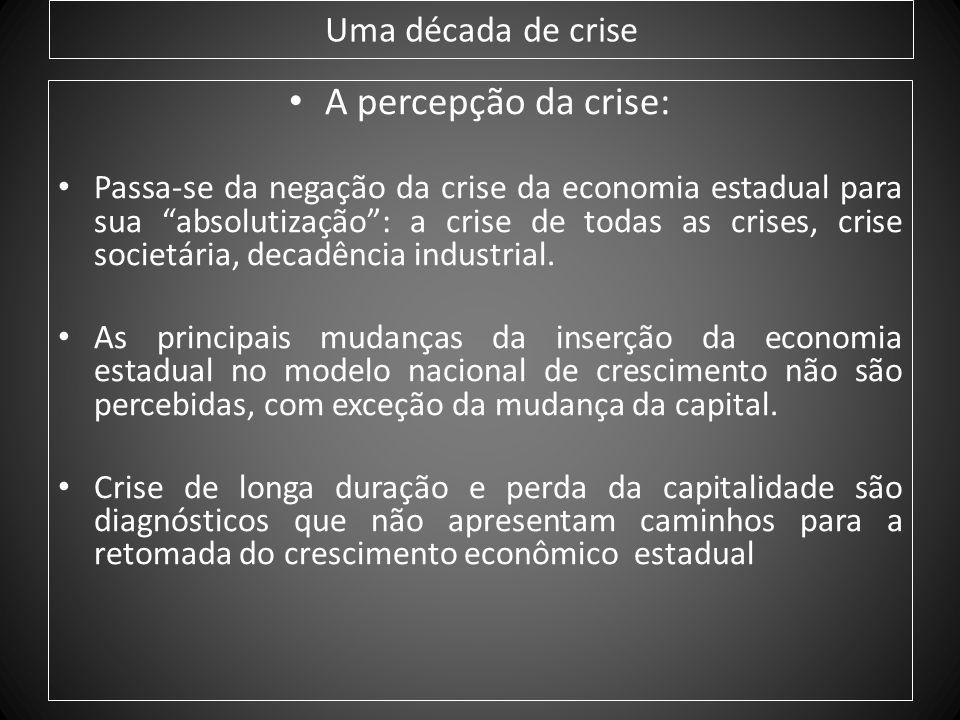 Uma década de crise A percepção da crise: Passa-se da negação da crise da economia estadual para sua absolutização: a crise de todas as crises, crise