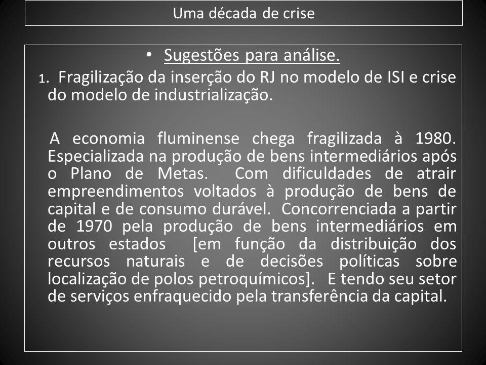 Uma década de crise Sugestões para análise. 1. Fragilização da inserção do RJ no modelo de ISI e crise do modelo de industrialização. A economia flumi
