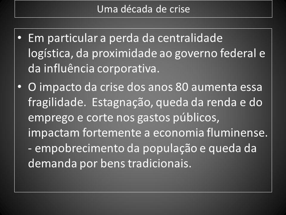Uma década de crise Em particular a perda da centralidade logística, da proximidade ao governo federal e da influência corporativa. O impacto da crise