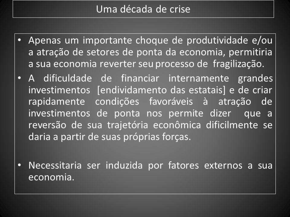 Uma década de crise Apenas um importante choque de produtividade e/ou a atração de setores de ponta da economia, permitiria a sua economia reverter se