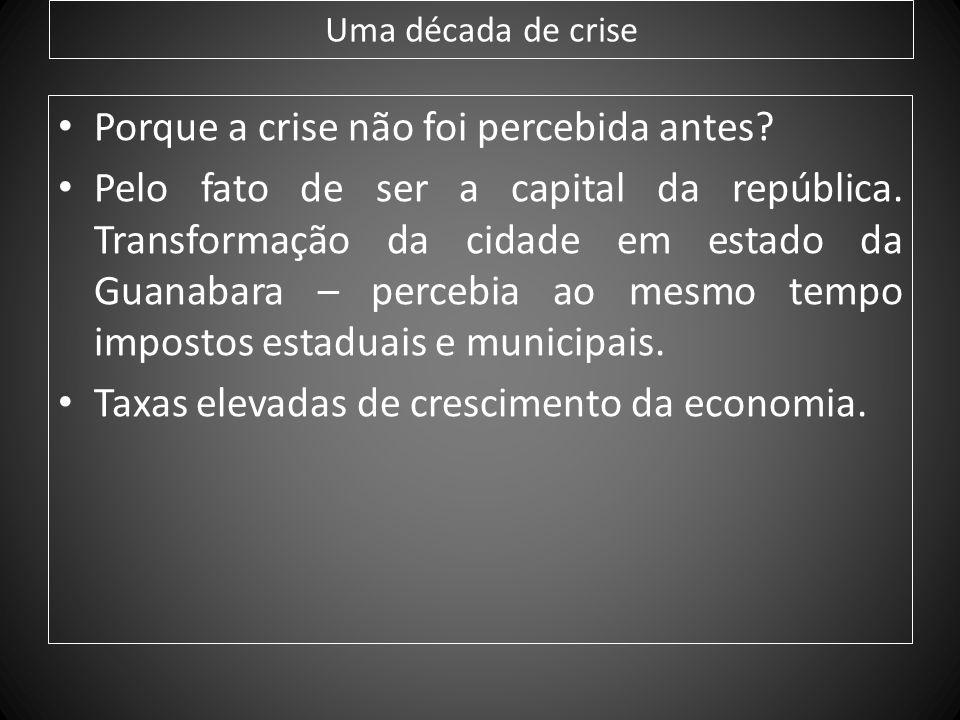Uma década de crise Porque a crise não foi percebida antes? Pelo fato de ser a capital da república. Transformação da cidade em estado da Guanabara –
