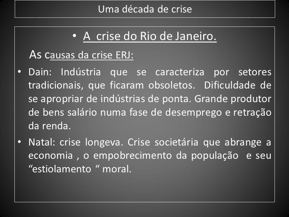 Uma década de crise A crise do Rio de Janeiro. As c ausas da crise ERJ: Dain: Indústria que se caracteriza por setores tradicionais, que ficaram obsol