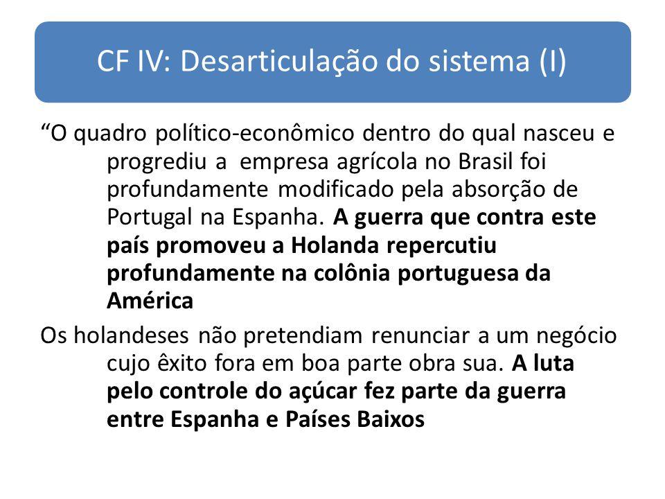 CF IV: Desarticulação do sistema (I) O quadro político-econômico dentro do qual nasceu e progrediu a empresa agrícola no Brasil foi profundamente modi