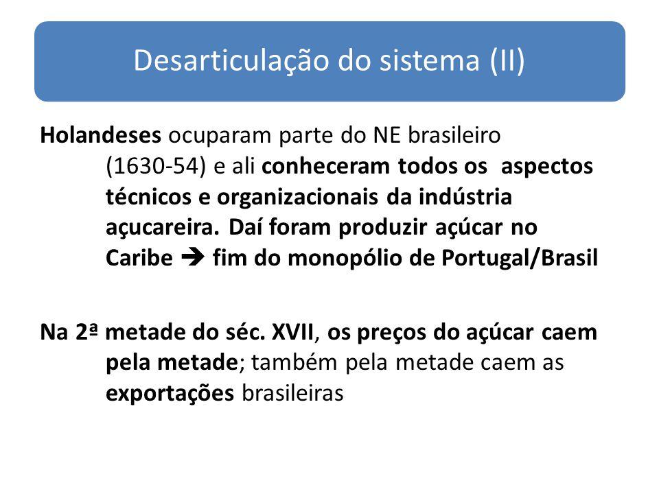 Desarticulação do sistema (II) Holandeses ocuparam parte do NE brasileiro (1630-54) e ali conheceram todos os aspectos técnicos e organizacionais da i
