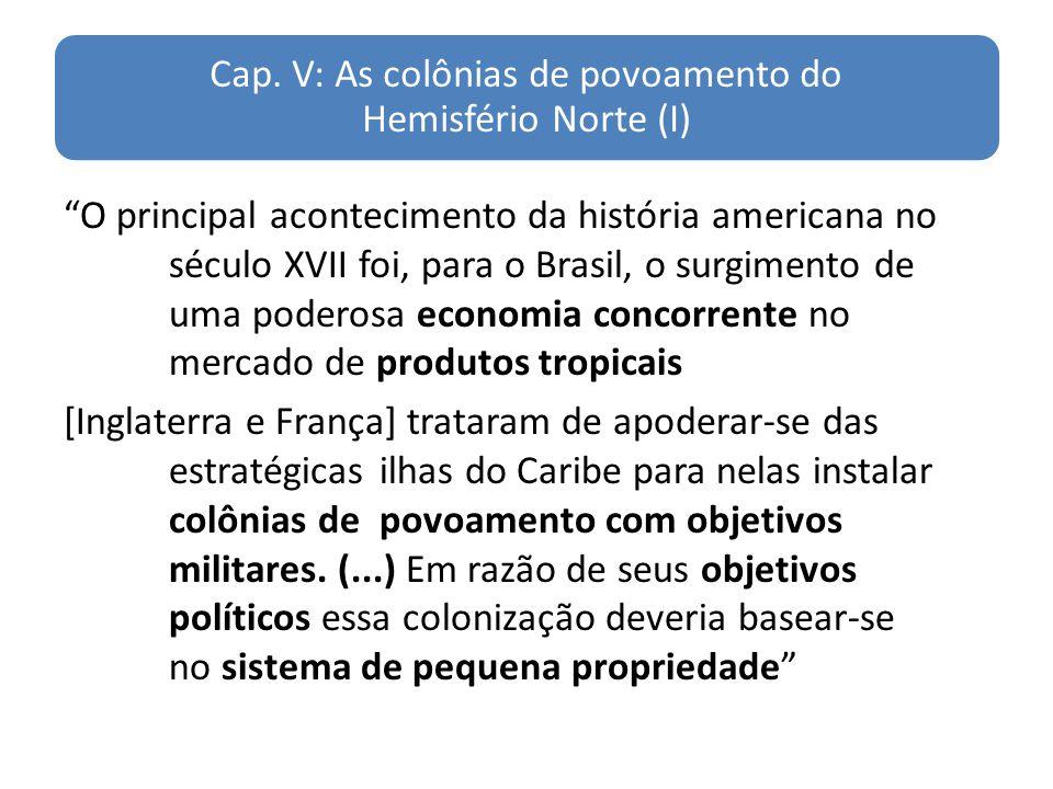 Cap. V: As colônias de povoamento do Hemisfério Norte (I) O principal acontecimento da história americana no século XVII foi, para o Brasil, o surgime