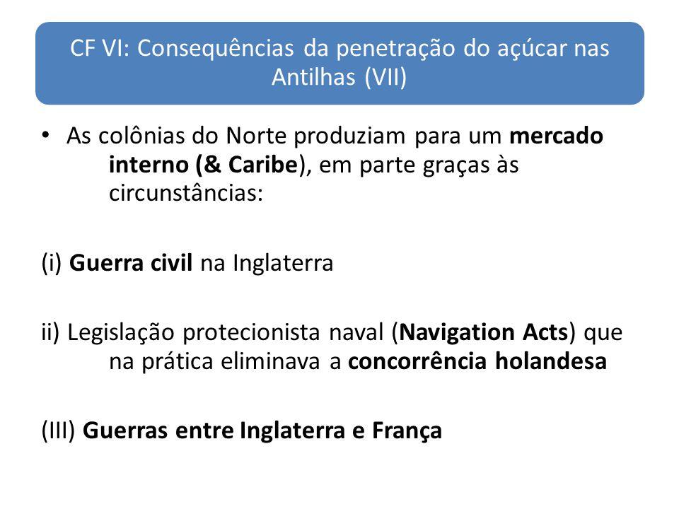 CF VI: Consequências da penetração do açúcar nas Antilhas (VII) As colônias do Norte produziam para um mercado interno (& Caribe), em parte graças às