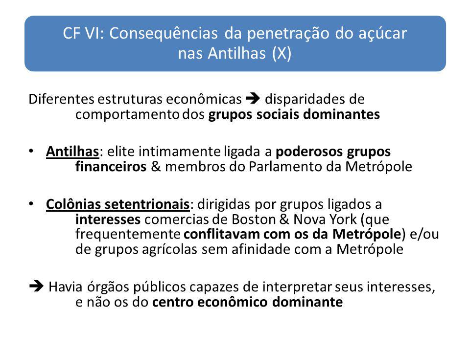 CF VI: Consequências da penetração do açúcar nas Antilhas (X) Diferentes estruturas econômicas disparidades de comportamento dos grupos sociais domina