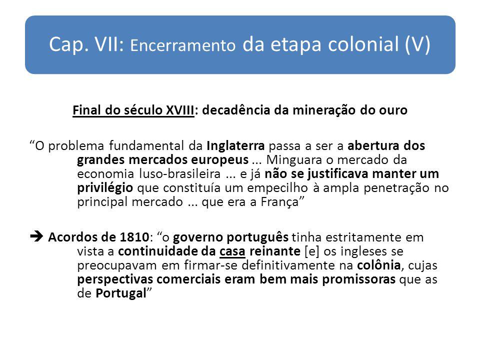 Cap. VII: Encerramento da etapa colonial (V) Final do século XVIII: decadência da mineração do ouro O problema fundamental da Inglaterra passa a ser a