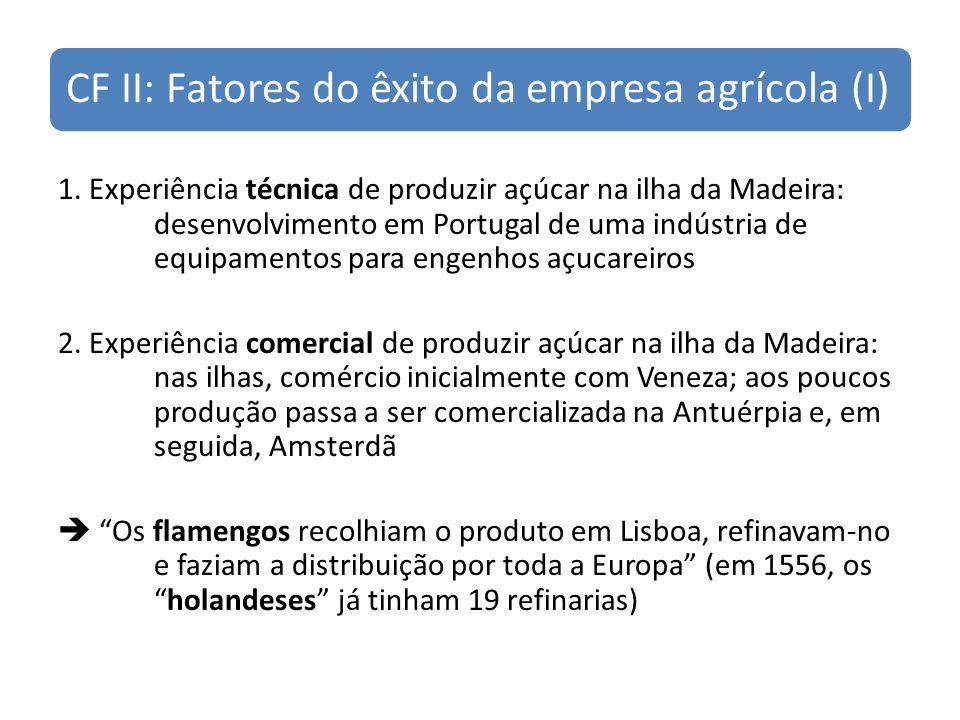CF II: Fatores do êxito da empresa agrícola (I) 1. Experiência técnica de produzir açúcar na ilha da Madeira: desenvolvimento em Portugal de uma indús