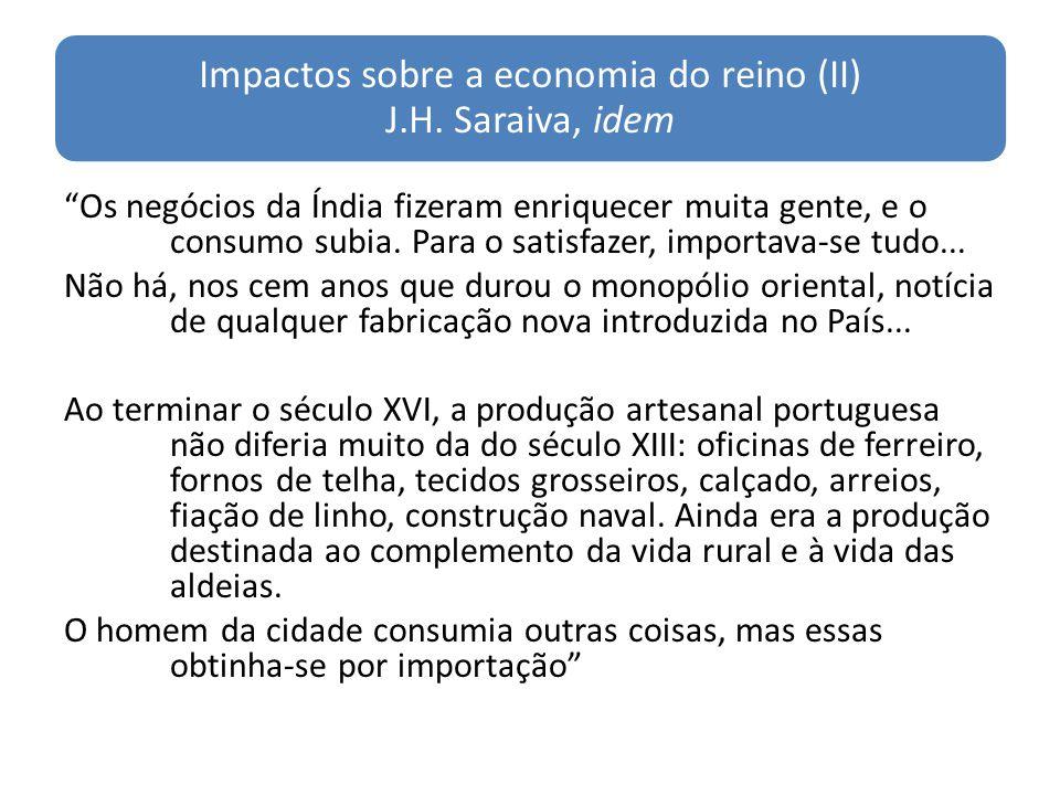 Impactos sobre a economia do reino (II) J.H. Saraiva, idem Os negócios da Índia fizeram enriquecer muita gente, e o consumo subia. Para o satisfazer,