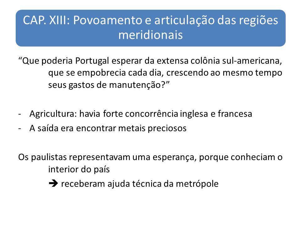 CAP. XIII: Povoamento e articulação das regiões meridionais Que poderia Portugal esperar da extensa colônia sul-americana, que se empobrecia cada dia,
