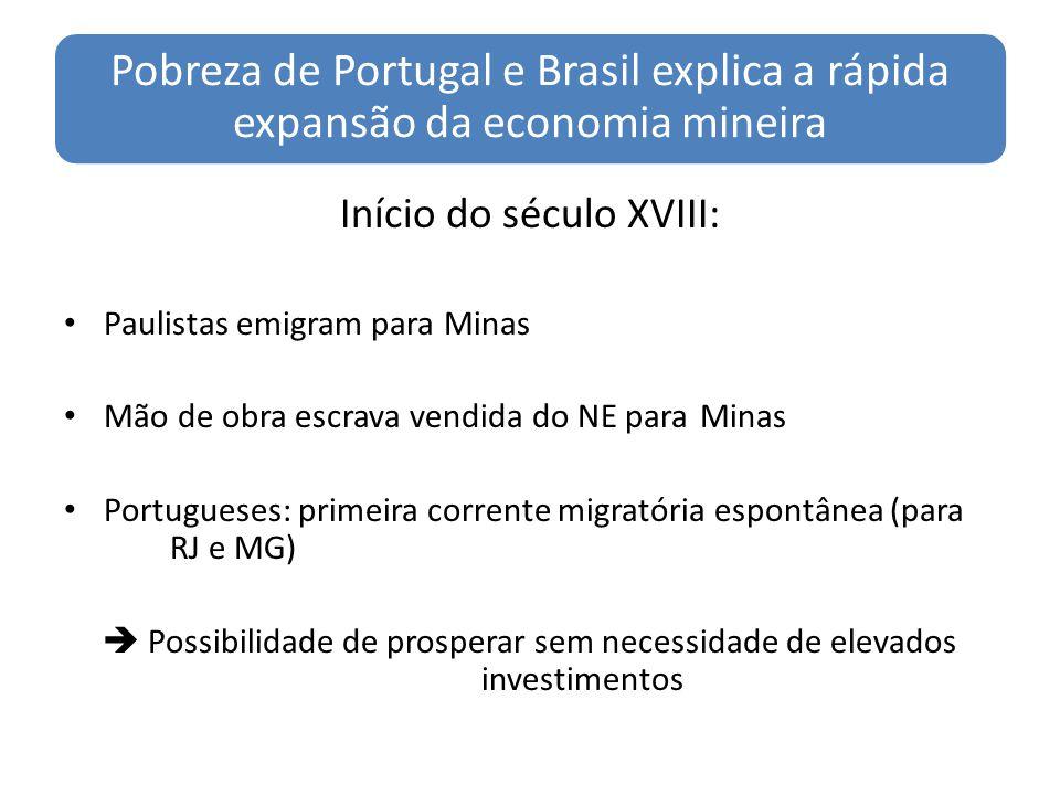 Pobreza de Portugal e Brasil explica a rápida expansão da economia mineira Início do século XVIII: Paulistas emigram para Minas Mão de obra escrava ve