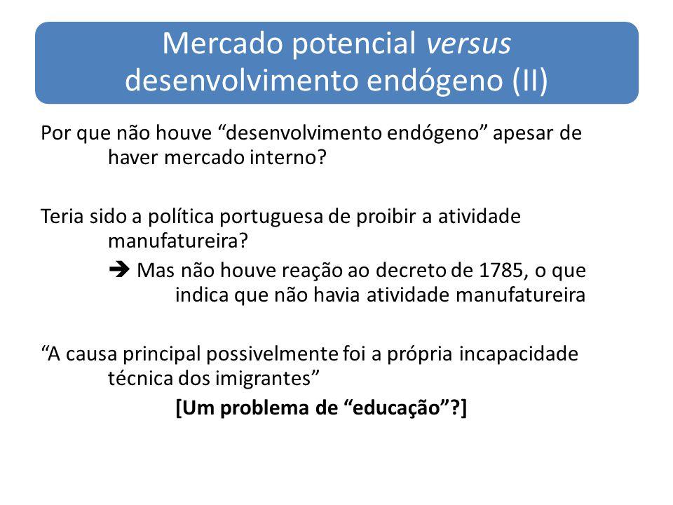 Mercado potencial versus desenvolvimento endógeno (II) Por que não houve desenvolvimento endógeno apesar de haver mercado interno? Teria sido a políti