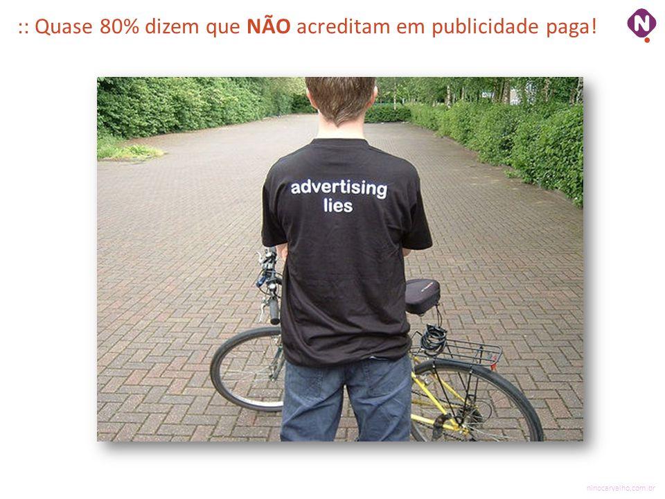 ninocarvalho.com.br :: Quase 80% dizem que NÃO acreditam em publicidade paga!